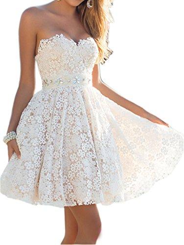 Ikerenwedding Women's Sweetheart Flower Lace Short Homecoming Dress