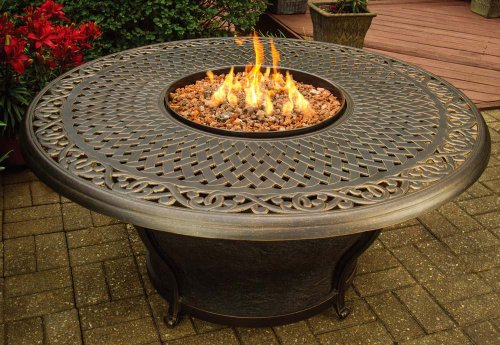 """Chateau Living Charleston Round 48"""" Antique Bronze Lp Gas Firepit Table"""