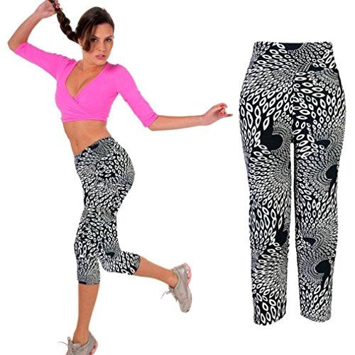 Ouneed® Yoga Sport pants,Vita Alta YOGA di Forma Fisica di Sport Pantaloni Stampati Stirata Potati Leggings OR/S (Nero, L)