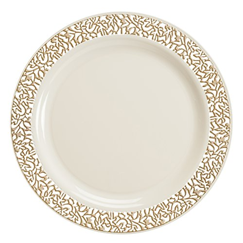 Lace Collection 40 Pack Premium China Like 7.5 Inch Like Real Plastic Plates (Includes 4 Packs ...  sc 1 st  Anna Linens & Lace Collection 40 Pack Premium China Like 7.5 Inch Like Real ...