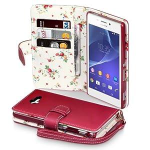 Terrapin Étui Housse en Cuir pour Sony Xperia M2 - Rouge (Fleur à l'intérieur)