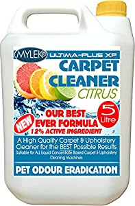 Mylek Citrus 5 Litres Carpet & Upholstery Shampoo Professional High Extraction Concentrate (Works With All Machines)