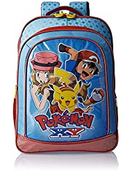Pokemon Polyester 18 Inch Blue And Red Children's Backpack (MBE -  POK027)