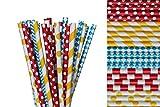 Circus Paper Straw Mix - Yellow, Blue, Red, Polka Dot, Striped, Diamonds (50)