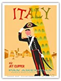 Italy via Jet Clipper - Pan American World Airways - Italian Carabinieri Policeman and the Leaning Tower of Pisa - Vintage Airline Travel Poster by Aaron Fine c.1959 - Master Art Print - 9in x 12in
