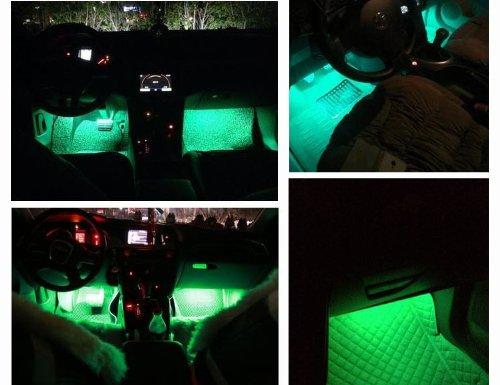 4pc multi color led interior underdash lighting kit sound activation function 02 vehicles. Black Bedroom Furniture Sets. Home Design Ideas