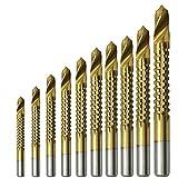 eoocvt 10pcs 3-13mm Titanium HSS Saw Drill Bits Pulling Cutting Carpenter Wood Metal Plastic Cutting Hole Sawtooth Twist Bits groove drills tool High Speed steel 4241