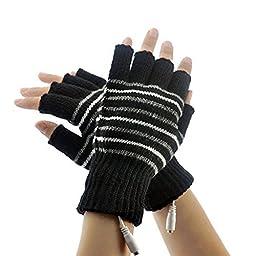 Lsgoodcare Black USB 2.0 Stripe Pattern Fingerless Heating Knitting Wool Hands Warm Gloves Gloves