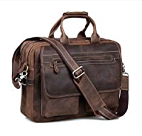 "Kattee Crazy-Horse Leather Briefcase Shoulder Business 16"" Laptop Bags Tote for Men by Kattee"