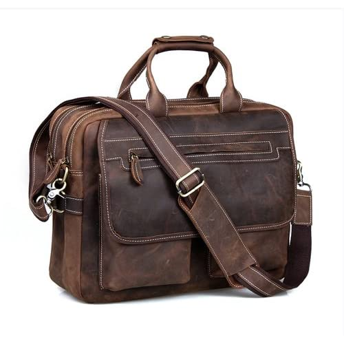 Kattee Leather Men's Dark Brown 15.6 inch Laptop Bag Briefcase Handbag Messenger Shoulder Bag