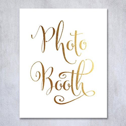 Photo Booth Gold Foil Sign Art Print Wedding Reception Signage Party Photography Poster Decor 5 inches x 7 inches