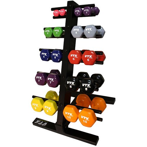Purchase VTX by Troy Barbell Vinyl 1-10 lb. Dumbbell Set with Rack for Sale