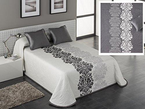 Textilhome - Colcha piqué Reversible CHIARA 135 cm. Color Gris