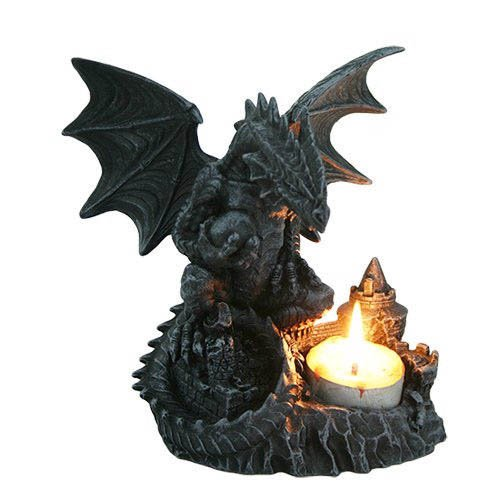 "Giant Dragon Besiege Medieval Castle T-Lite Candle Holder Resin Figurine 6"" Tall"