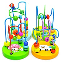 Joylive Mini Wooden Around Beads Children Kids Baby Colorful Educational Game Toy by Joylive