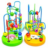 Joylive Mini Wooden Around Beads Children Kids Baby Colorful Educational Game Toy