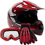 Youth Offroad Gear Combo Helmet Gloves Goggles DOT Motocross ATV Dirt Bike MX Spiderman Red, Small