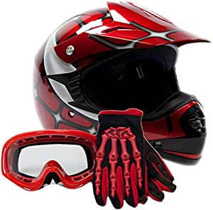 Youth Offroad Gear Combo Helmet Gloves Goggles DOT Motocross ATV Dirt Bike MX Spiderman Red, Large
