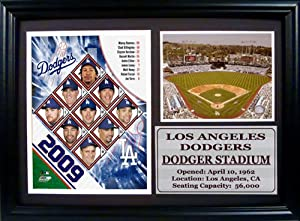 "2009 Los Angeles Dodgers Team Photograph with StatIsticIstics Nested on a 12"" x 15"" Plaque"