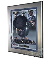 Signed Sebastian Vettel & Mark Webber Red Bull Racing F1 Cap Display - Autographed NASCAR Miscellaneous Items