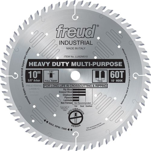 Freud LU82M010 10-Inch 60 Tooth TCG Crosscutting and Ripping Saw Blade with 5/8-Inch Arbor