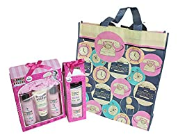 3 Pc Glamour to the Rescue Vintage Themed Bath and Beauty Bundle with Tote Bag