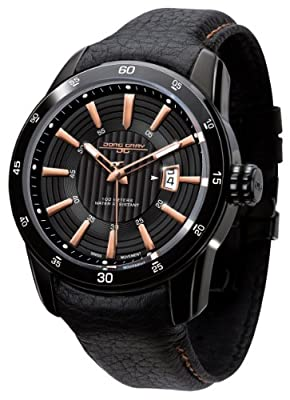Jorg Gray 3700 Circle and Stripe PVD 45mm Watch - Black/Rose Gold Dial, Black Leather Strap JG3700-12 by Jorg Gray