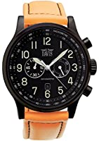 Davis - Montre Noire Aviateur 48mm - Chronographe Etanche 50M - Bracelet Lorica Orange