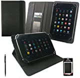 Emartbuy® Black Dual Function Stylus + Universal Range Black Carbon PU Leather Multi Angle Executive Folio Wallet Case Cover With Card Slots Suitable for Advent Vega Tegra Note 7 Inch Tablet