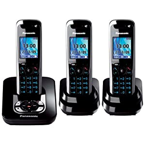 Panasonic Kx Tg8523eb Dect Trio Digital Cordless Phone Set With Answer Machine Black