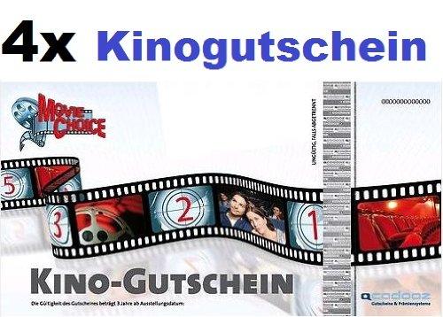 4x Kinogutschein für CineStar, Cinedom, Cineplex, Cinemaxx, UCI, Kinopolis, Kinostar uvm. von MovieChoice - So macht Kino Spaß. Einzulösen in fast allen Kinos in Deutschland. (4x Movie Choice Kinogutschein / Kino-Gutschein / Film / Movie-Choice) hier kaufen