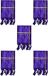 PAVITHRA SILKS Silk Towel, Pack of 5 (Royal Blue)