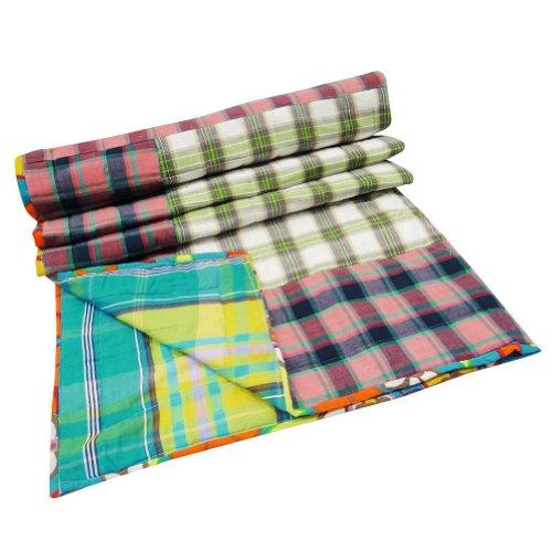 Patchwork Baby Quilt Plaid Pattern Bedsheet Crib Size Designer Reverssible Bedspread Indian Gudri
