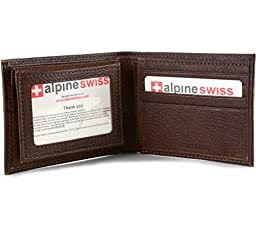 Alpine Swiss Mens Leather Wallet 2-In-1 Bifold Flip up Removable Card Case Antique Brown