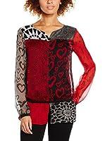 Desigual Blusa Charo Rep (Rojo / Negro)