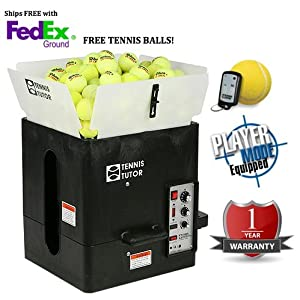Sports Tutor Tennis Tutor Plus Player with Wireless Remote Tennis Ball Machine - Smart Charger Included