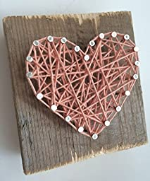 Rustic soft pink string art heart wood block - A unique gift. for Weddings, Anniversaries, Birthdays, Valentine\'s Day, Christmas and baby girls.