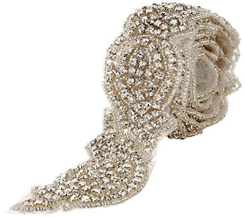 The Buckle Boutique Ornate Hand Beaded Rhinestone Bridal Trim, 2-Inch