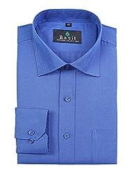 Basil Men's Cotton Blend Formal Shirt (BA380PFF54FSF-40, Blue, 40)