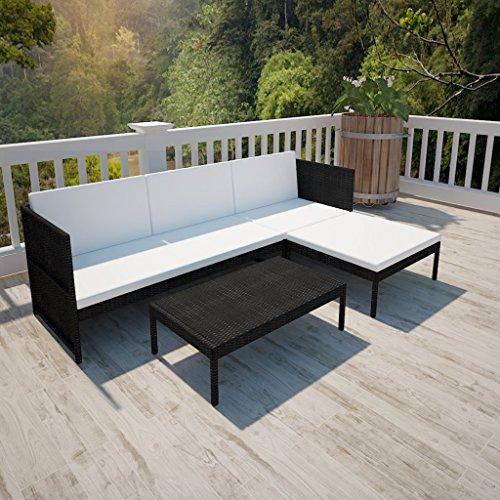 vidaXL Set Seduta da giardino in polirattan con sofa a 3 posti nero