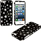 myLife Classic Black + White Stars Series (2 Piece Snap On) Hardshell Plates Case for the iPhone 5/5S (5G) 5th... by myLife Brand Products
