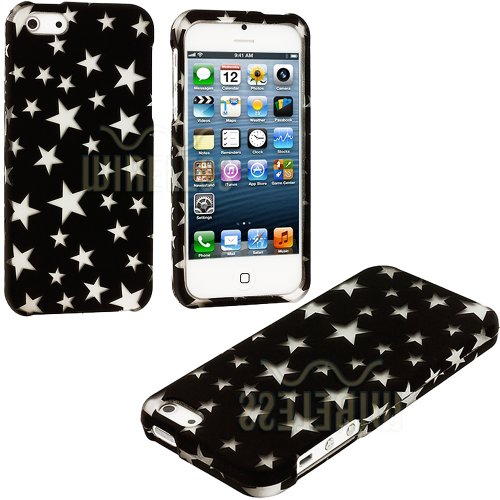 $$  myLife (TM) Classic Black + White Stars Series (2 Piece Snap On) Hardshell Plates Case for the iPhone 5/5S (5G) 5th Generation Touch Phone (Clip Fitted Front and Back Solid Cover Case + Rubberized Tough Armor Skin + Lifetime Warranty + Sealed Inside myLife Authorized Packaging)