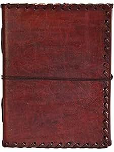 INDIARY echtes Leder Tagebuch / Notizbuch aus Büffelleder handgeschöpftes Papier 18cm X 13cm schlicht und edel - EXPEDITION