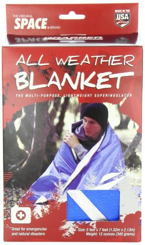 Grabber Outdoors Original Space Brand All Weather Blanket: Blue Reflects And Retains Over 80% Of Radiated Body Heat. Reusable. Full Edge Binding And Grommeted Corners.