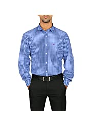 VETTORIO FRATINI By Shoppers Stop - Yarndyed Checks Shirt With Contrast Collar Band ,Sleeve Cuff And Inner Placket... - B00VV6G772