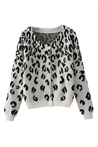 Pink Wind Womens Button Front Leopard Cardigan Round Collar Fleecy Sweaters