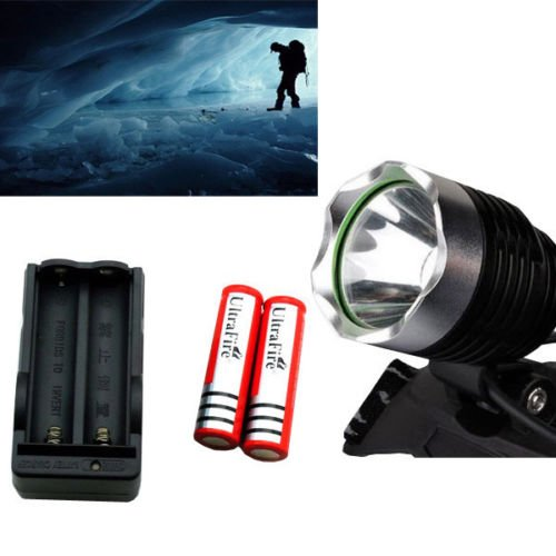 1800Lm Led Headlight Headlamp Light Torch Flashlight +2Pc 18650 Battery+ Charger