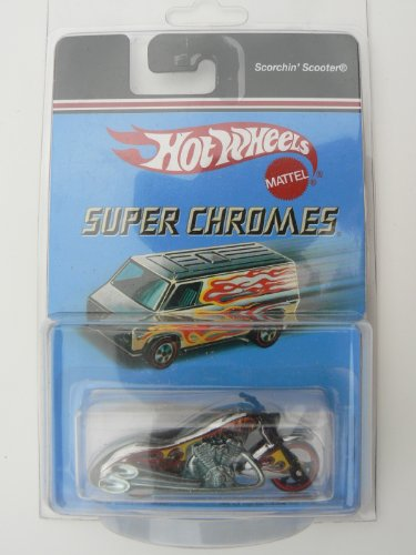 Hot Wheels Super Chromes Scorchin' Scooter Silver with Red and Yellow flames