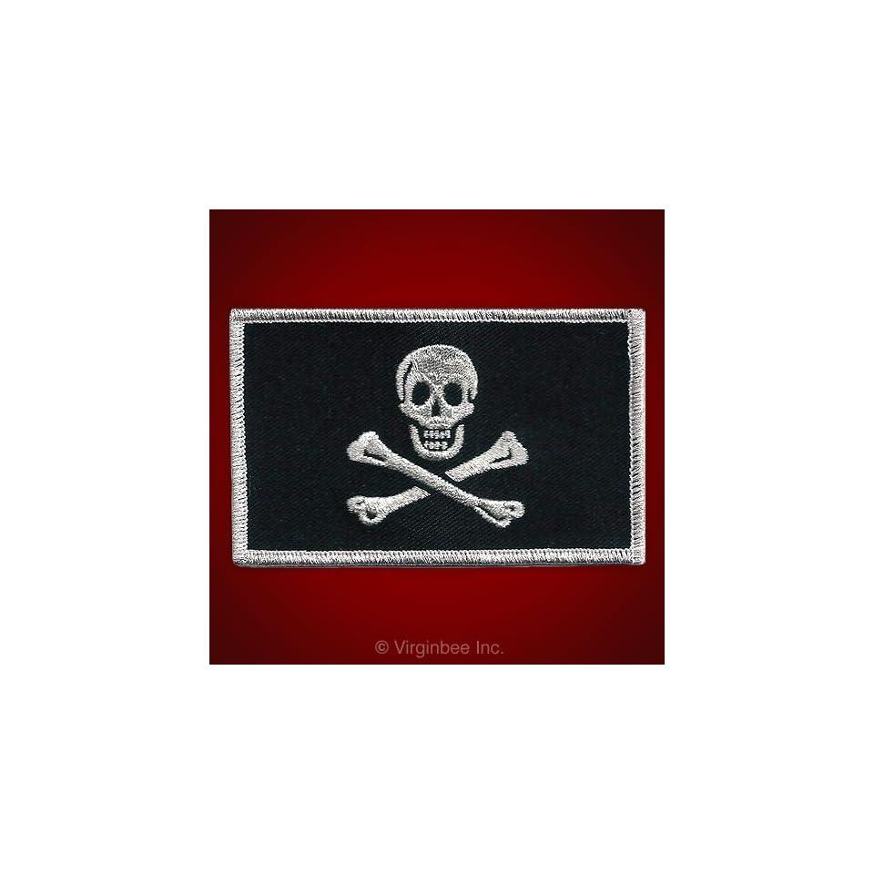 JOLLY ROGER PIRATE FLAG SKULL CROSSED BONES SILVER METALLIC