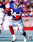 "THURMAN THOMAS AUTOGRAPHED 8X10 PHOTO BUFFALO BILLS""1991 NFL MVP"" PSA/DNA STOCK #61904"
